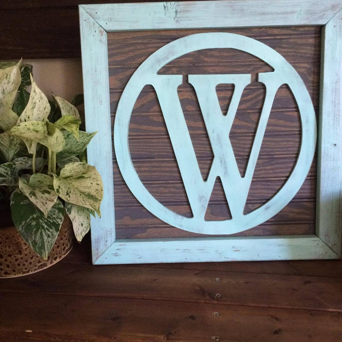 Rustic Monogram Wall Decor : Rustic wood monogram framed initial wall art