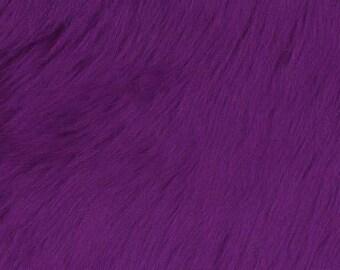 Shaggy Faux Fake Fur / Purple Fabric by the yard (Z2)