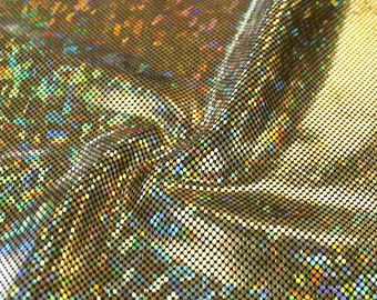 Shattered Glass Stretch Hologram Fabric by the yard - Gold/Black (Z3)