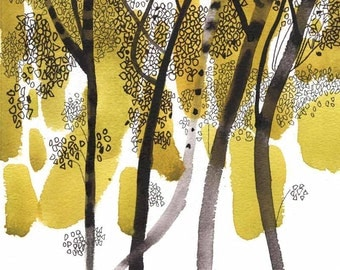 ORIGINAL ABSTRACT WATERCOLOR 8X10  tree, black ink, yellow, fine art, modern painting, contemporary paintings, original technique, wall art