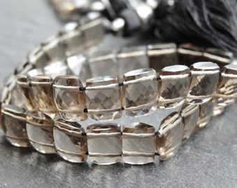 AA+ Smokey Quartz double drilled rectangles, 6x8mm, 21cm strings, 34 beads