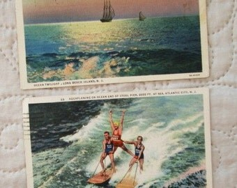 1930'S JERSEY SHORE Postcards, swimming postcards, water skiing, atlantic city items, postcard collectors 1930's postcards