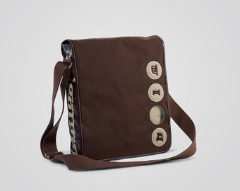 Cordura pouch with Holearound and genuine leather-100% Made in Italy-Beige Brown