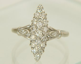 Navette Vintage 14K White Gold .52ctw Diamond Ring Size 7.5