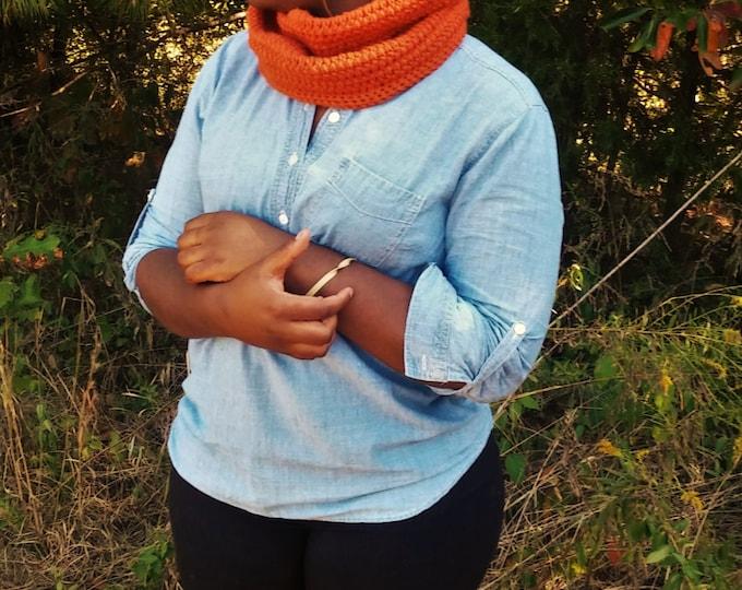 Autumn Orange Pom Pom Beanie and Infinity Scarf Set