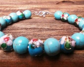Beautiful handcrafted blue porcelain beaded bracelet