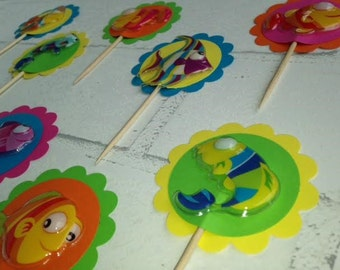 Fish Cupcake Toppers (set of 12): cupcake picks - birthday - party supplies - party decor - bright colors - topical fish