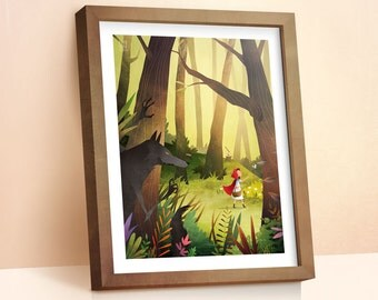 Red Riding Hood illustration | Children's Prints | Fairy Tale Print | Boys Room Decor | Nursery Decor | Wall Art | Gift For Kids