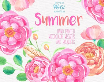 Watercolor clipart flower wreath and bouquets, DIY invite, summer clipart, trendy watercolor graphics, commercial use elements, pink peony
