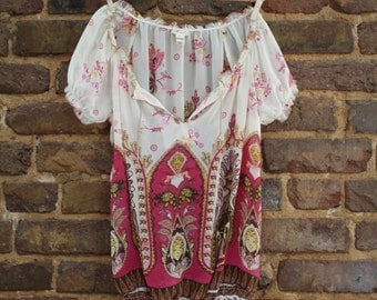 Sheer Paisley Floral Peasant Top