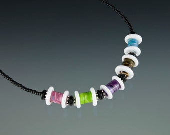 White Glass Spool Necklace