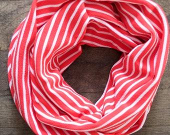 Vivid Pink Striped Infinity Scarf