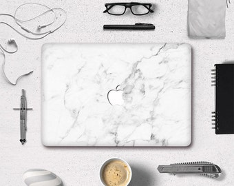 """White Marmor Marble Grain Top Front Cover Vinyl Decal Laptop Sticker For Macbook 11"""" 12"""" 13"""""""