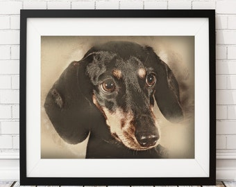 Dachshund Print, Dog Print, Dachshund Art, Dachshund Painting, Dog Painting, Poster, Dog Lover Gift, Dachshund Gifts