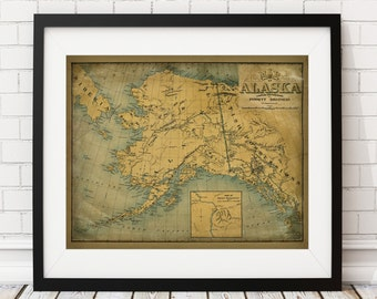 Alaska Map Print, Vintage Map Art, Antique Map Wall Decor, Alaska Wall Art, Alaska Art, Alaska Print, History Gift, Cartography, Geography