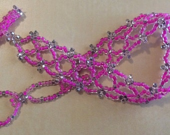 Lace Beaded Bracelet, Vibrant Pink, Adjustable and Handmade