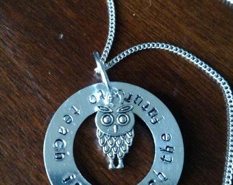 Teacher Handmade Necklace Metal Stamped