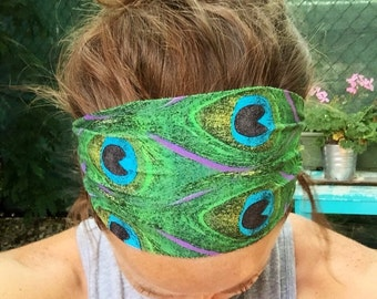 Fitness/Running/Yoga/Workout Wide Headband-PEACOCK FEATHERS