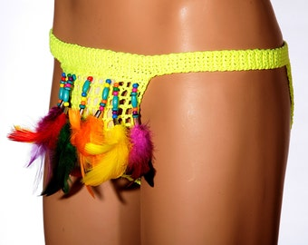 Sexy festival panties Erotic mens underwear Burning man Crochet sexy beads feathers Super sexy Erotic sexy man Erotic Thongs PHOENIX BIRD 2
