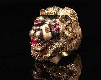 Gold Lion Ring 14K Huge 27.1 Grams!