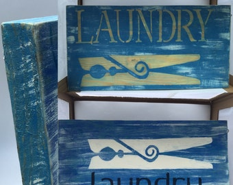 Laundry Sign on Wood