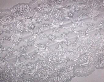 1m Perl Gau silver elastic lace 23 cm wide