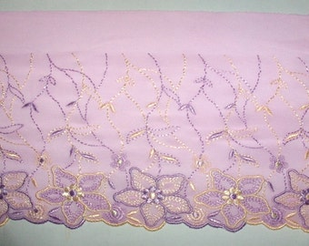 2m high-quality elastic pink embroidery trim width 17.5 cm