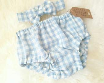 Baby Boys Blue/White Gingham Bowtie & Bloomers Cake Smash Birthday Outfit