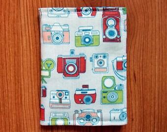 Passport Cover/Holder-Print Colorful Cameras Cotton Fabric Passport Case