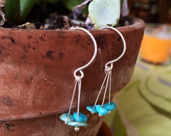 Turquoise and Sterling Silver Drop Earrings with Circle Ear Loops