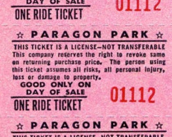 Paragon Park, STRIP of 10 RIDE TICKETS