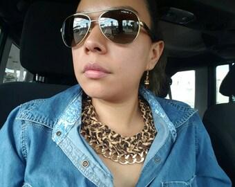 Braided leopard print necklace, Statement necklace, chunky bib necklace