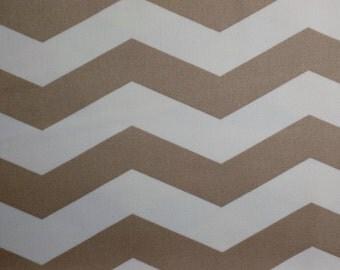 Cream and Khaki Chevron designer fabric