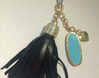 Handmade bag charm - black tassel