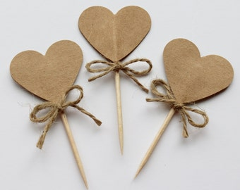 Heart cupcake toppers, rustic wedding cupcake toppers, rustic wedding, cupcake toppers, heart wedding toothpicks, heart picks, heart toppers