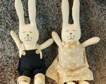 Rag Doll Bunny Rabbits Plush Toy (Available in 2 Designs)
