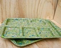 Prolon Ware Melamine Divided Food Trays/ Confetti Green Pattern/ Retro Section Trays/ 1960s