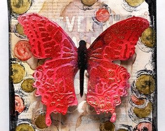 Mixed media collage with butterfly on canvas (15 x 15cm), mixed media art, canvas