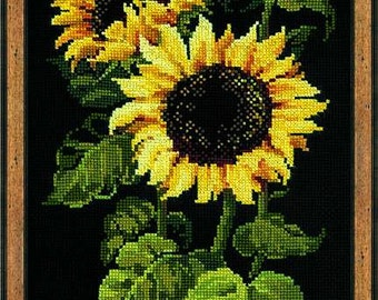 Cross Stich  Cross 'Sunflowers'. Embroidery. Needlepoint.