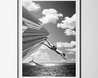 """Poster / poster A3 - photo-collage surrealism - photomontage - digital - """"The man jump"""" - man, whale - Black and white"""