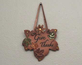 Give Thanks Fall/Autumn Wall Hanging With Rhinestones