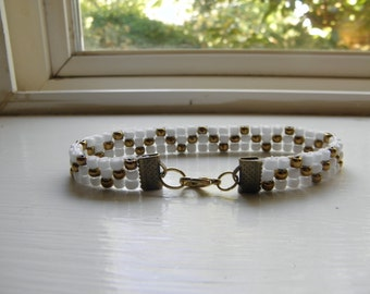 Very classic gold and white seed bead bracelet