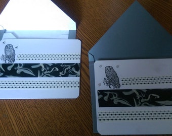 Pair of home made owl cards