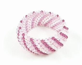 Bracelet,caprice,northern,elastic,semirigid,pink,white,fuchsia,crystal,weaving bead,texture,bright,gift idea,birthday,christmas,mother's day
