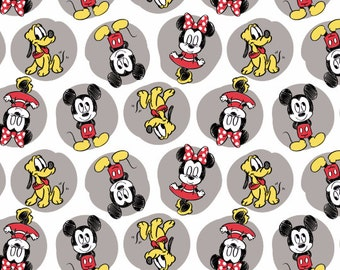 FLANNEL Disney Mickey Minnie Pluto Fabric From Camelot