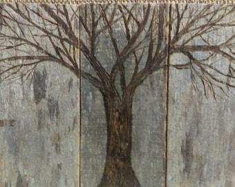 Woodburned tree on reclaimed barnwood