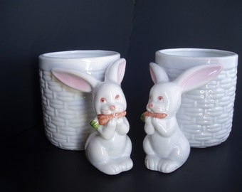 Pair of Vintage Fitz and Floyd 1979 Hand Painted Mugs with Rabbit Handles
