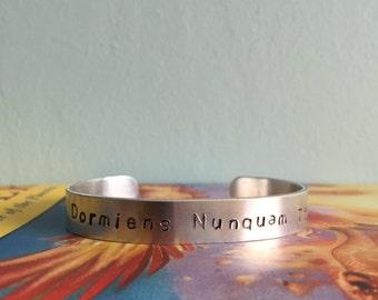 Draco Dormiens Nunquam Titilandus - Hogwarts School Motto Metal Cuff Bracelet