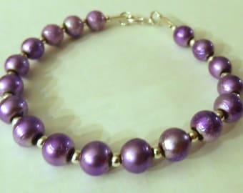 Metallic Purple Beaded Bracelet, Packaged
