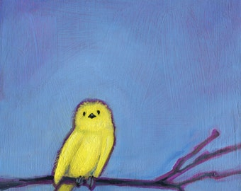 Yellow Baby Bird, Oil Painting, bird art